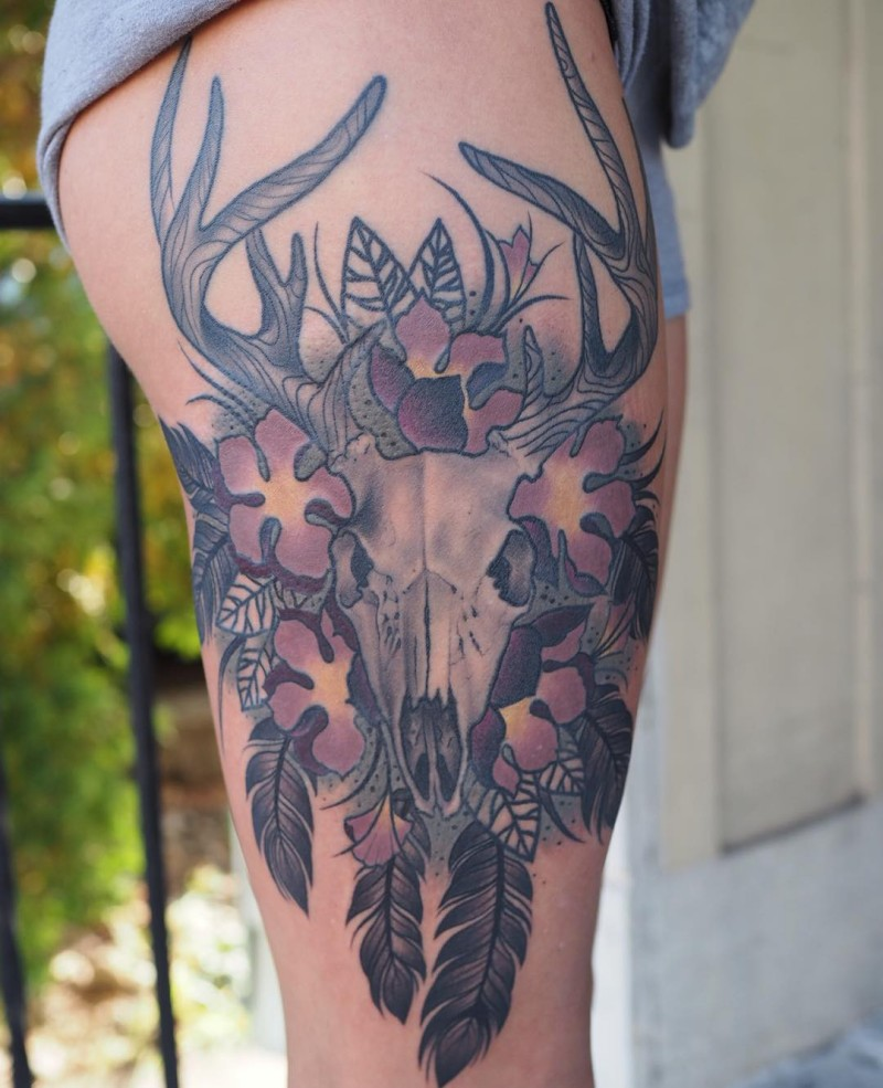 Original combined big deer skull tattoo on thigh with flowers and feather