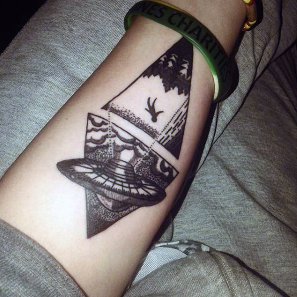 Original combined black ink alien ship with human tattoo on arm