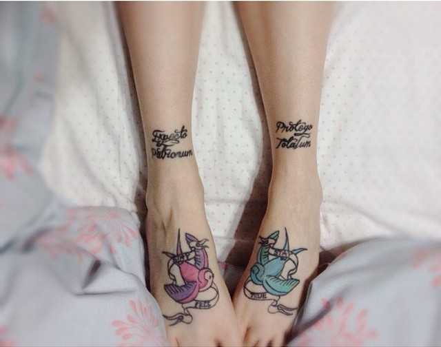 Original combined black ink different Harry Potter spells tattoo on ankle with colored birds