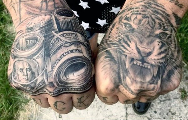 Original combined black ink tiger with money bills tattoo on hands