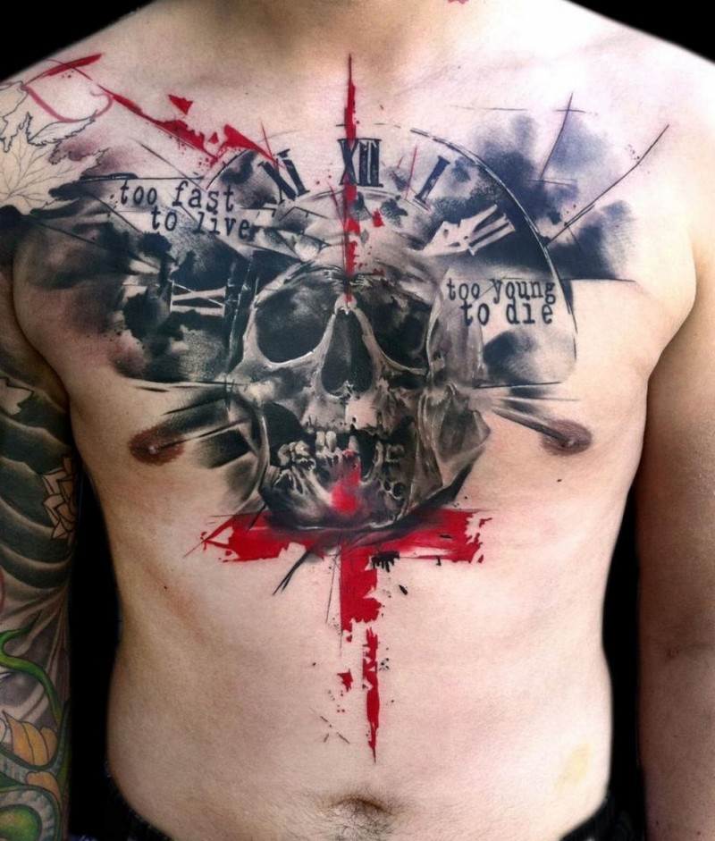 Original combined colored bloody skull with clock and lettering tattoo on chest