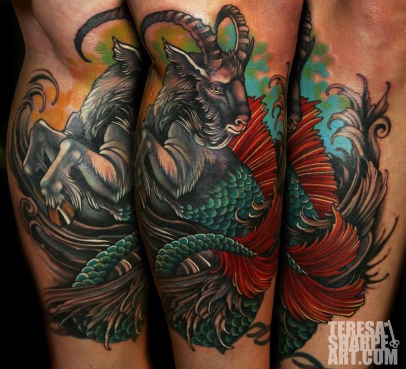 Original combined colored leg tattoo of half goat half fish creature