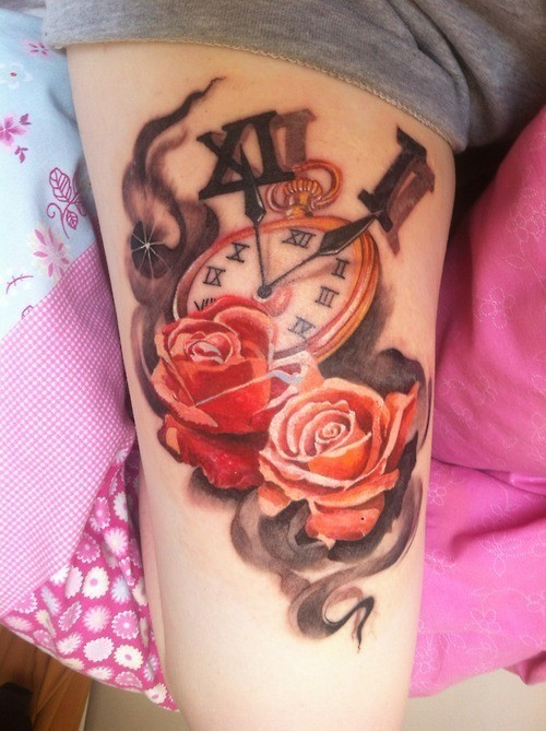 Original combined colored old clock with flowers tattoo on thigh