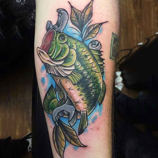 Original combined colored realistic fish with spanners tattoo on leg