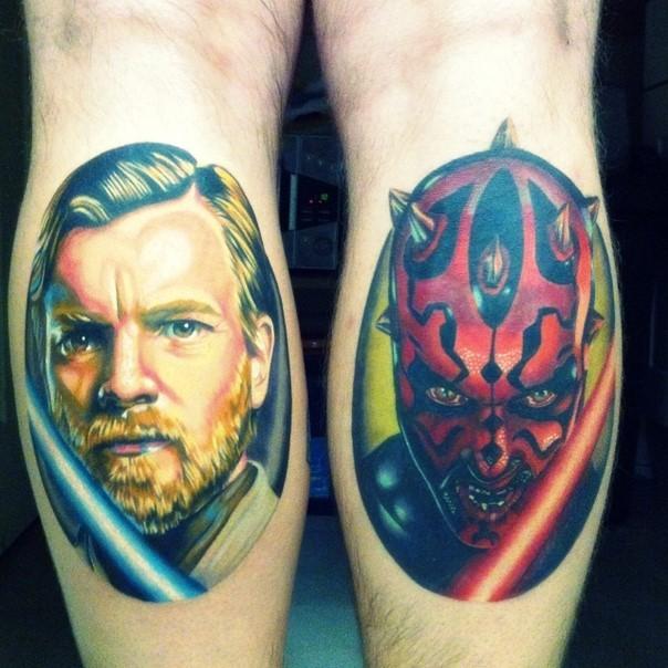 Original combined colored Star Wars themed thighs tattoo of Obi Wan Kenobi and Darth Maul portraits