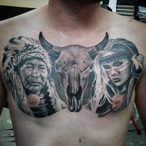Original combined colored tattoo on chest with Indian woman and animal skull
