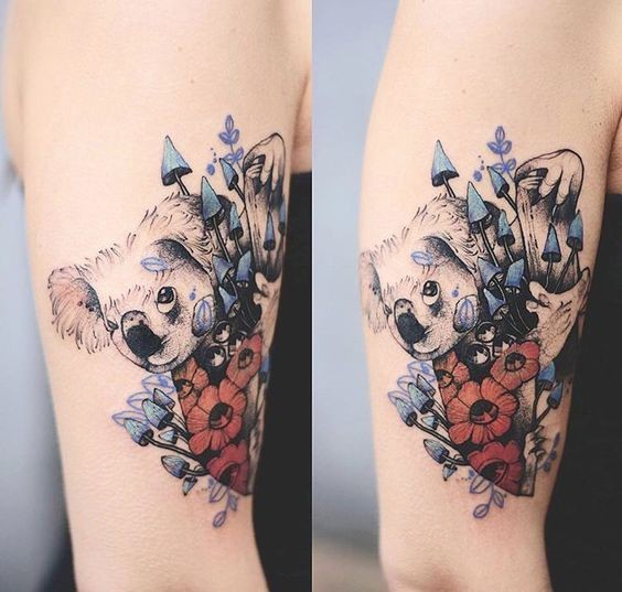 Original combined colored upper arm tattoo of koala bear with flowers
