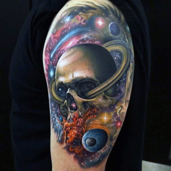 Original combined colorful space with skull tattoo on shoulder