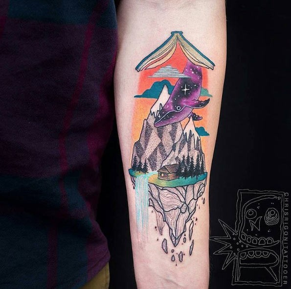 Original combined colorful strange forearm tattoo of magic book with whale and mountais