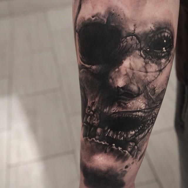 Original combined half monster half skull tattoo on thigh