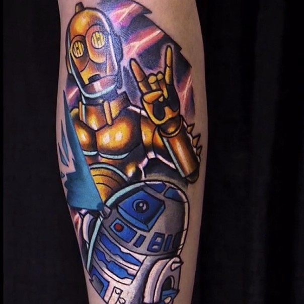 Original comic books style colored C3PO tattoo on forearm with R2D2