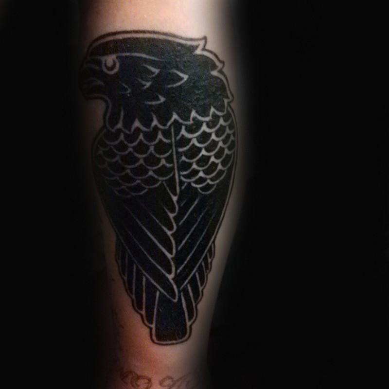 Original design black crow detailed tattoo