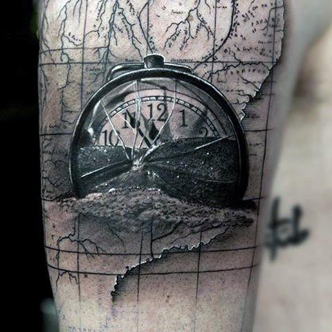 Original designed 3D like big broken clock shoulder tattoo with world map