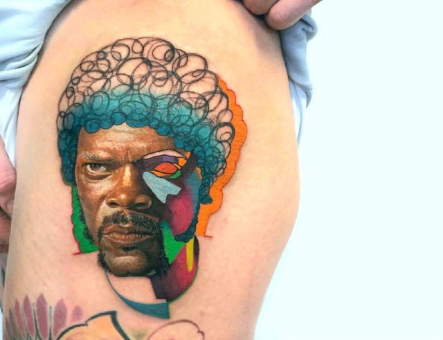Original designed and colored natural looking thigh tattoo of Samuel L. Jackson portrait