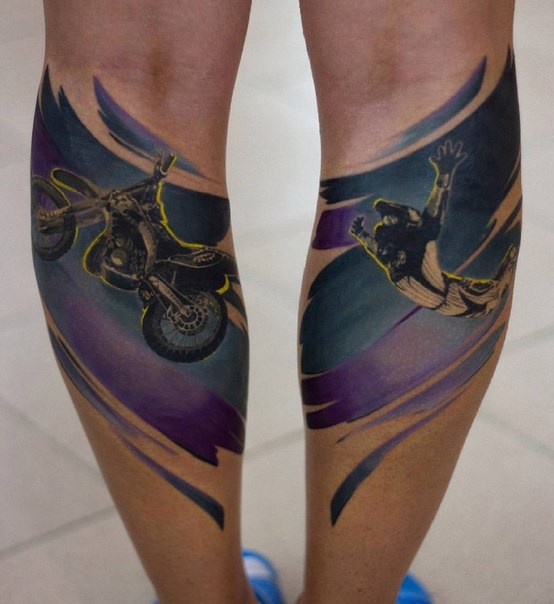 Original designed and colored on legs tattoo of bike stunt rider
