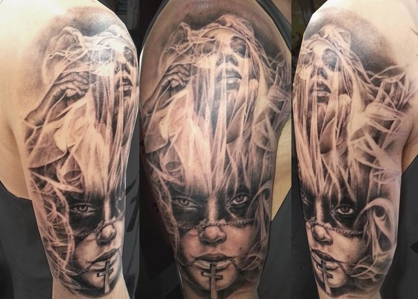 Original designed black ink detailed half sleeve tattoo of woman portrait with ghost