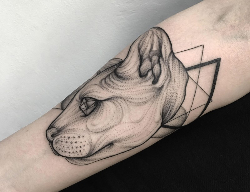 Original designed black ink mystical cat with diamonds tattoo on forearm with black triangles