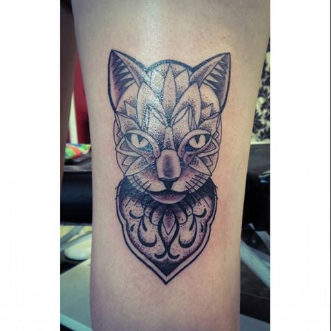 Original designed colored dot style leg tattoo of mysterious cat with nice ornaments
