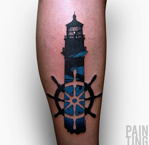 Original designed colored lighthouse with ship steering wheel tattoo