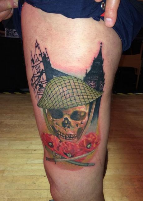Original designed colored thigh tattoo of soldiers skull with flowers and swords