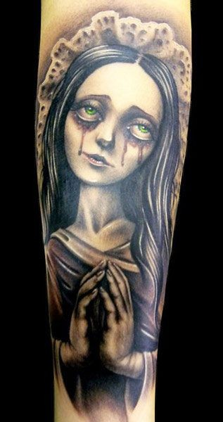 Original designed crying colored monster girl tattoo on arm