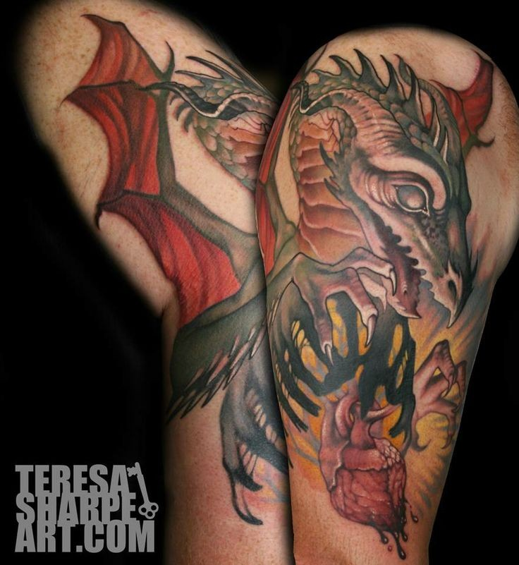 Original multicolored fantasy dragon tattoo on shoulder with heart