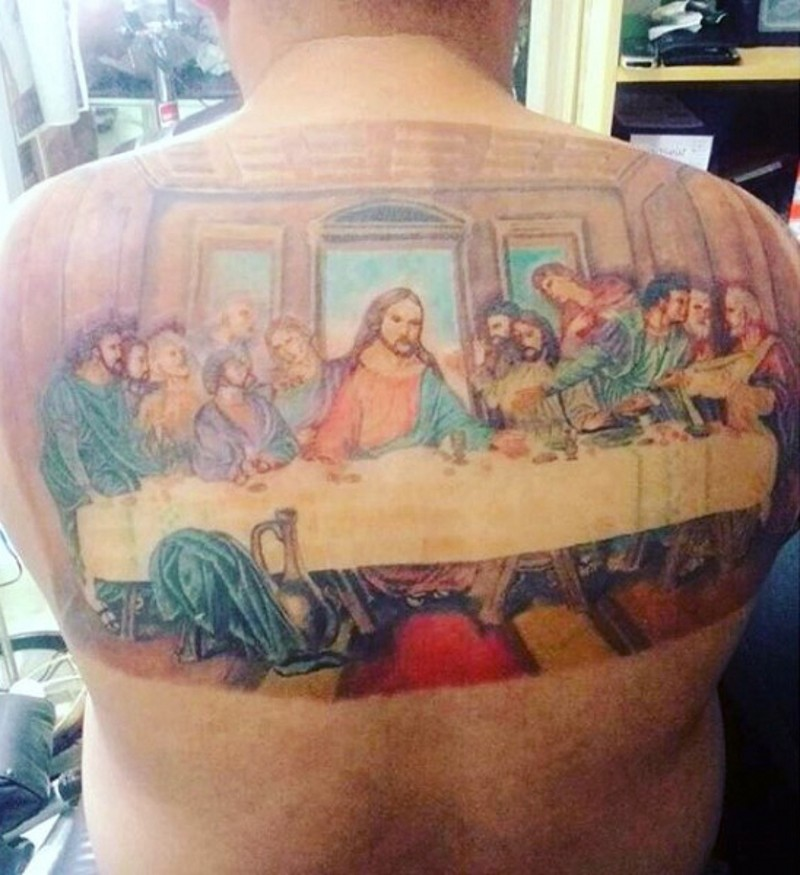 Original multicolored Lord&quots Supper picture big tattoo on upper back