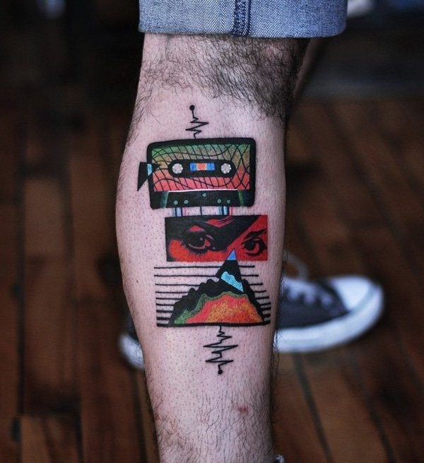 Original music themed colored leg tattoo of old tame and music wave