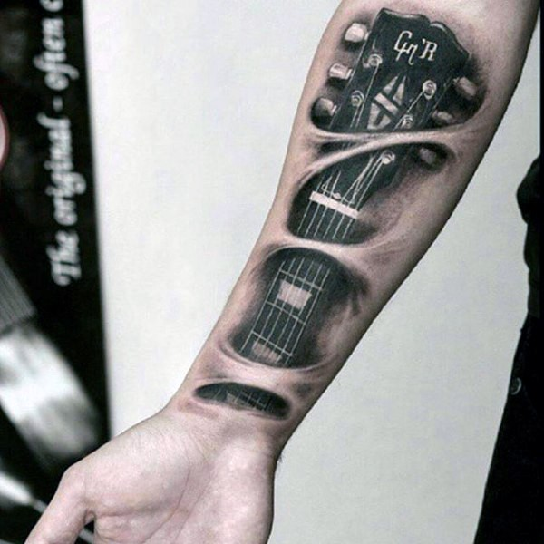 Original painted 3D black and white realistic guitar under skin on arm