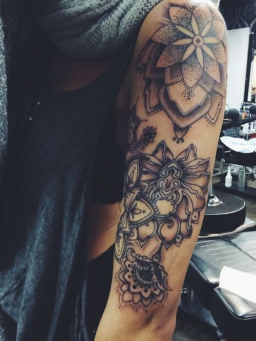 Original painted big black and white flowers tattoo on sleeve