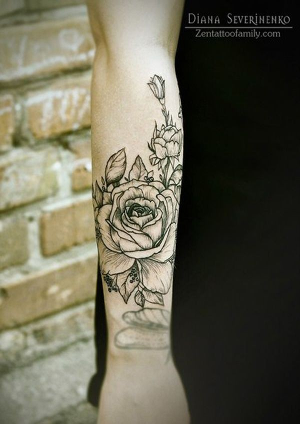 Original painted big black and white rose flower tattoo on arm