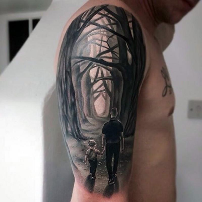originale dipinto nero e bianco padre e figlio in mistica foreste tatuaggio a mezza manica