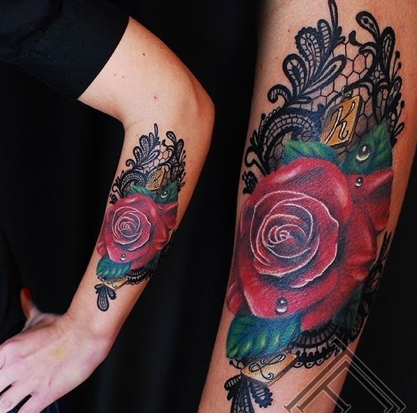 Original painted multicolored big rose with lettering in arm