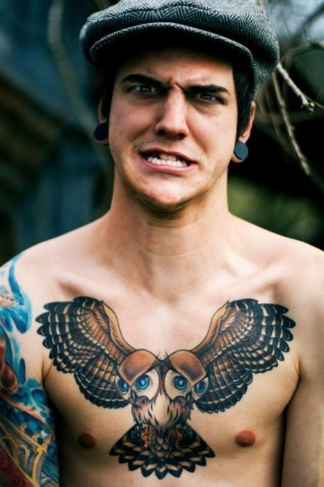 Original painted nice colored chest tattoo of owl with two heads