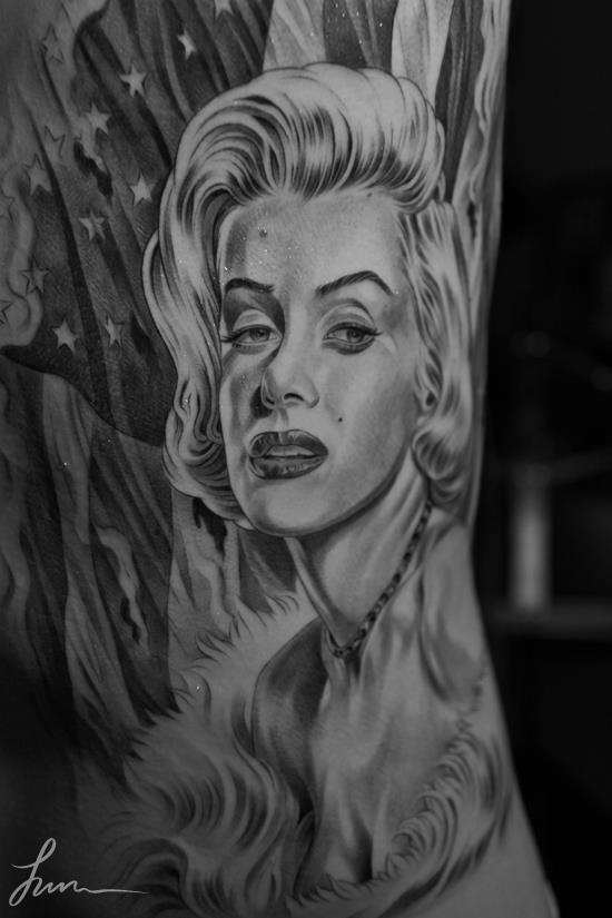 Original photo style Merlin Monroe portrait tattoo on chest