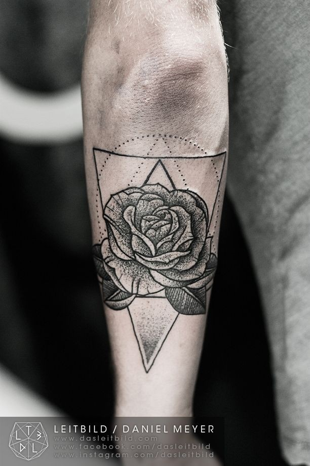 Original style painted black and white rose with triangle tattoo on arm