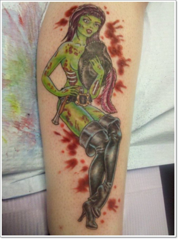 Original style painted seductive zombie woman tattoo on arm