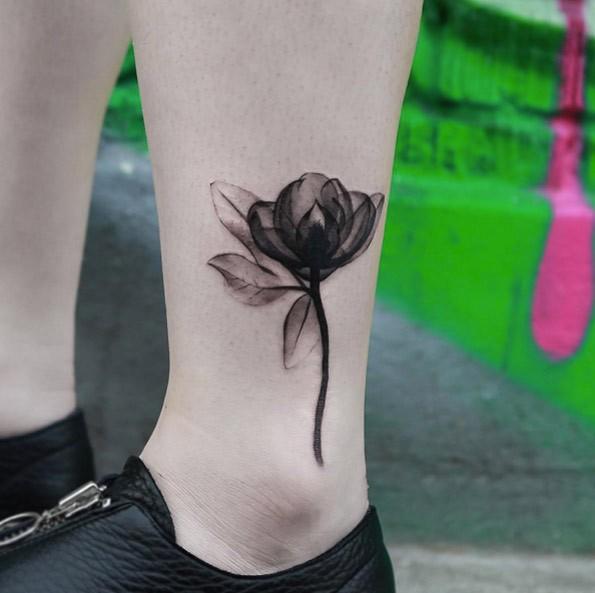 Original style tender flower ankle tattoo