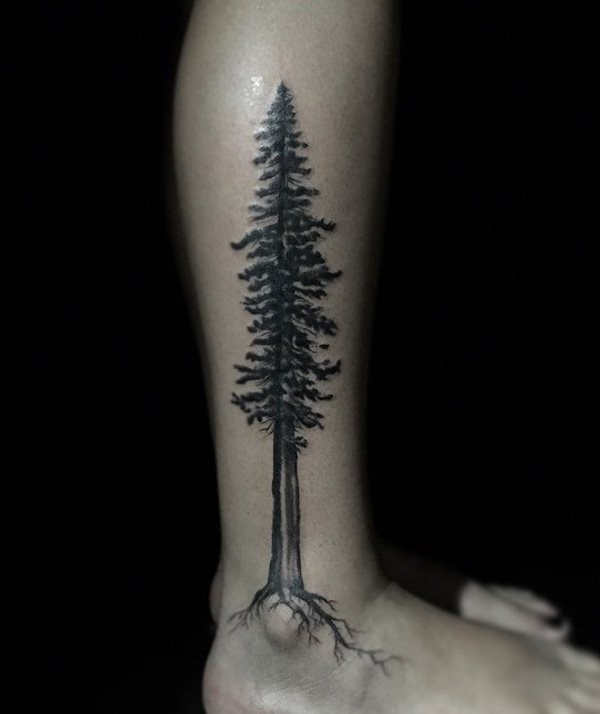 Original very detailed black ink 3D lonely tree tattoo on ankle