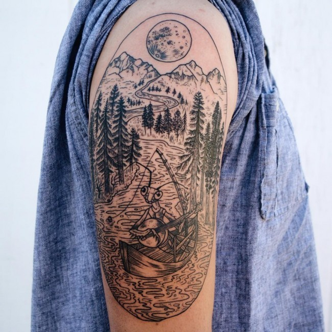 Oval shaped black ink shoulder tattoo stylized with swimming grasshopper in mountain river