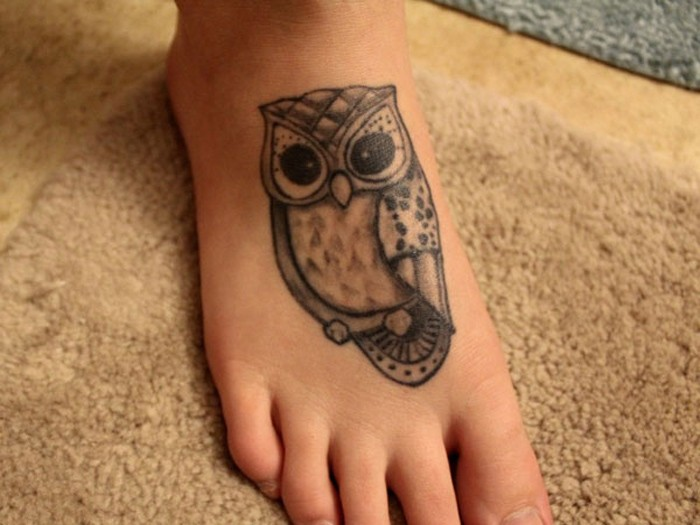 Owl foot tattoos for women