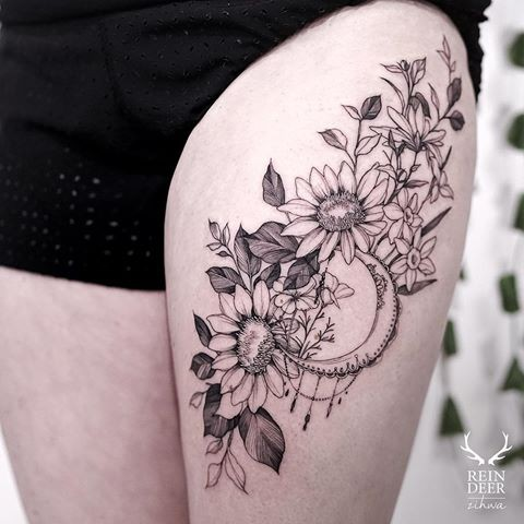 Painted by Zihwa thigh tattoo of various flowers and moon