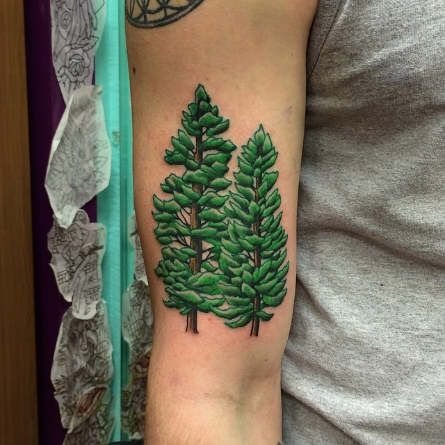 Pair of bright green pine trees detailed biceps tattoo
