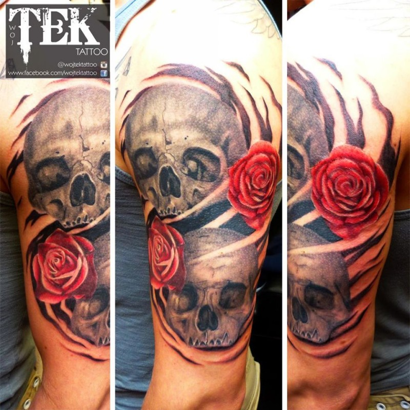 Pair of human skulls and red roses new style traditional arm tattoo