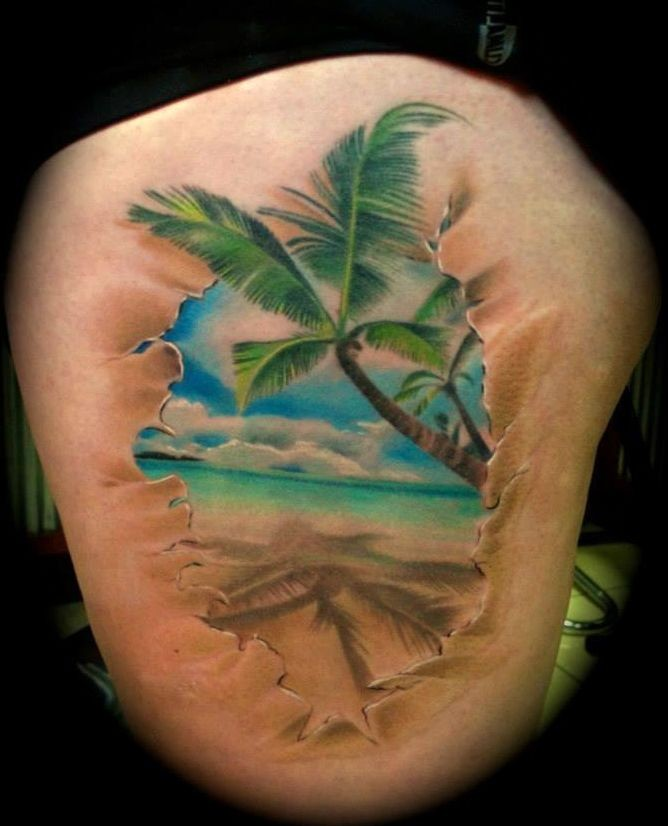 Palm tree on edge of ocean