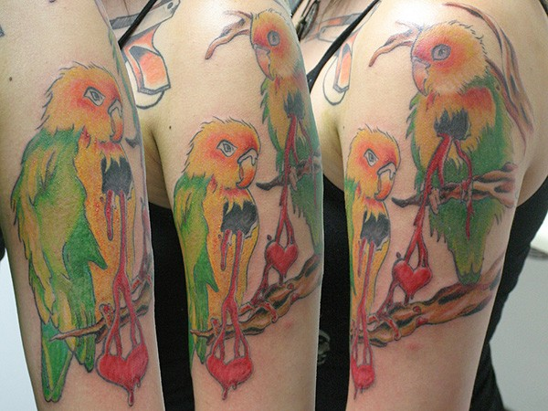 Parrots on a branch tattoo on half sleeve
