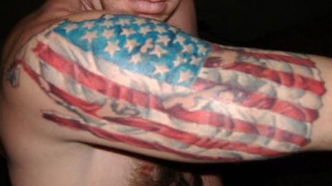 Patriotic american flag tattoo on arm