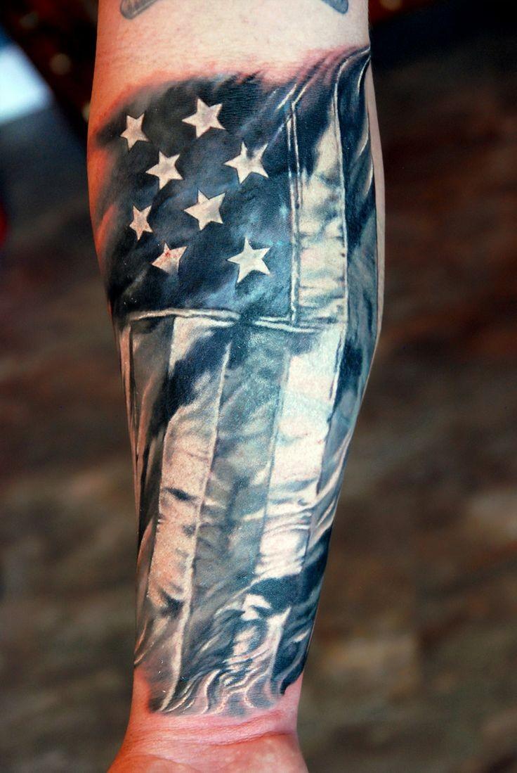Patriotic usa flag tattoo on arm
