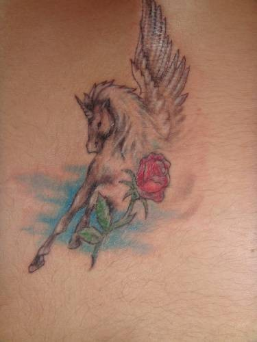 Pegasus and red rose tattoo