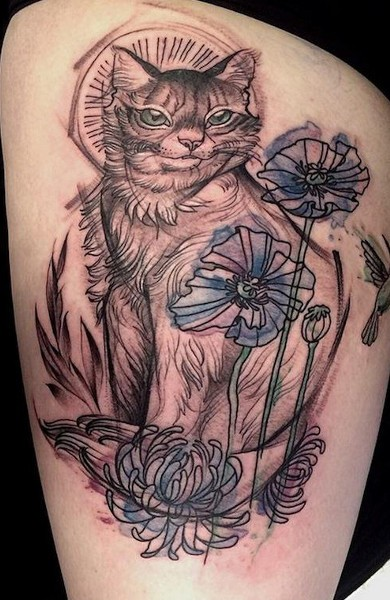 Pencil painted like colored thigh tattoo of cat with flowers